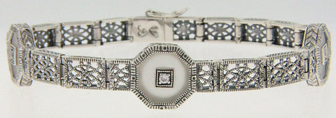 ANTIQUE STERLING SILVER BRACELET CRYSTAL DIAMOND