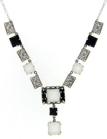 BLACK ONYX w CRYSTAL NECKLACE ART DECO STERLING SILVER
