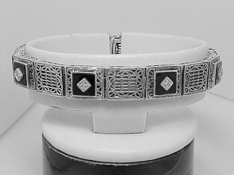 ANTIQUE STERLING SILVER BRACELET DIAMOND ONYX