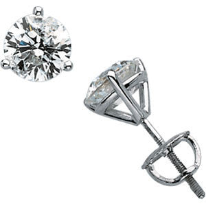 (.50 Carat) Diamond Stud Earrings in 14k White Gold