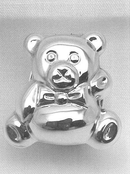 STERLING SILVER BOX FOR BABY w TEDDY BEAR GREAT GIFT!