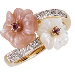 14K Yellow Gold Mother of Pearl + Pink Tourmaline Flower Bypass Design Ring