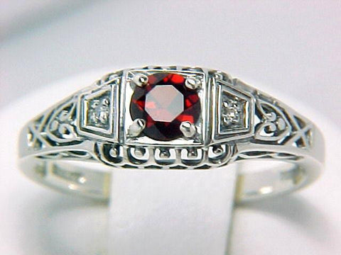 GARNET and DIAMOND RING STERLING SILVER ANTIQUE STYLE RETAILL $100 + TAX!