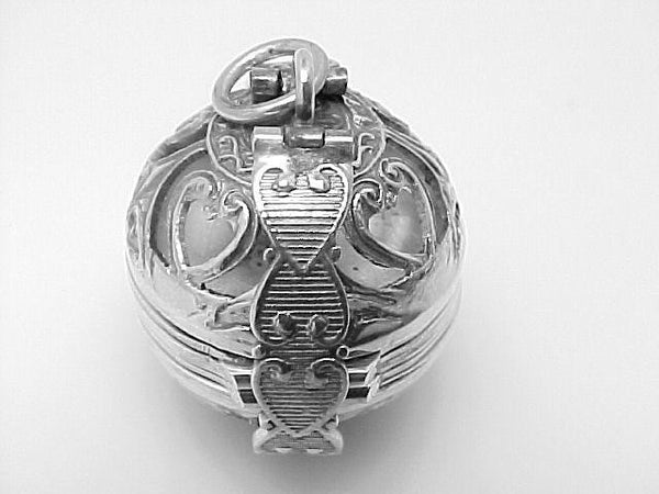 STERLING SILVER LOCKET PENDANT BALL SHAPE HOLDS 6 PICTURES