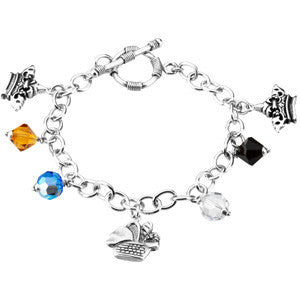 "Sterling Silver Lord's Prayer Charm Bracelet (7.5"")"