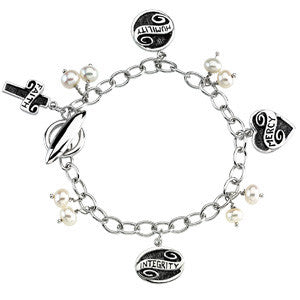 "Sterling Silver Charm Bracelet w/ 4 Lifetime Skills Inspirational Blessing Charms--Mercy, Faith, Humility and Integrity (7 3/4"")"