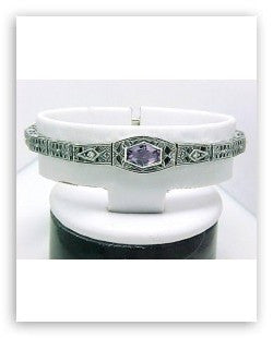 ANTIQUE STYLE STERLING BRACELET AMETHYST DIAMOND