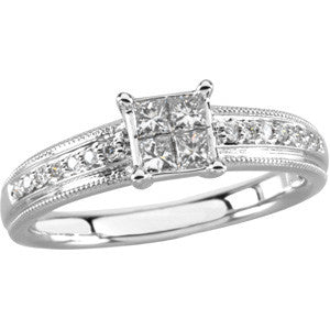 (0.33 Carat) Diamond Princess Cut Engagement Ring in 14K White Gold w/ 4 Princess Cut & 7 Round Diamonds (Color: G, Clarity: SI)