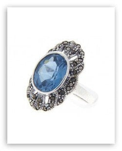 ANTIQUE STERLING SILVER RING BLUE TOPAZ MARCASITE