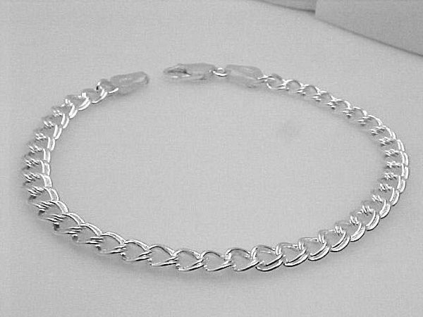 STERLING SILVER CHARM BRACELET 7 INCH DOUBLE LINK RETAIL $75.00 + TAX!