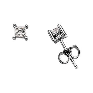 (0.33 Carat) Diamond Princess Cut Stud Earrings in 14k White Gold - Color: G, Clarity: I1
