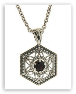 ANTIQUE STYLE STERLING SILVER GARNET  PENDANT CHAIN