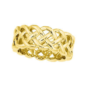 14K Yellow Gold Celtic Wedding Band 8MM (Size 10)