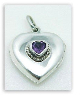 HEART LOCKET PENDANT AMETHYST STERLING SILVER Retail $55 + tax!