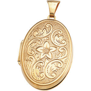 "14K Solid Gold Large (1.25"" x 1"") Oval Locket w/ flower scroll detail -- holds 4 photos"