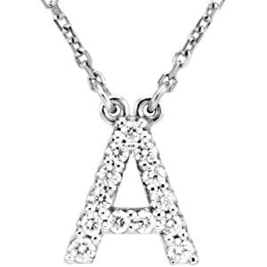"(0.16 Carat) White Gold Diamond Initial Pendant Necklace (16"")"