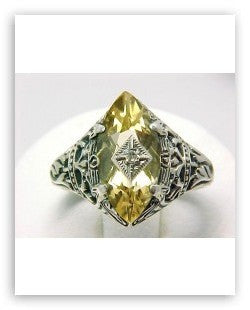 ANTIQUE STYLE STERLING SILVER RING  CITRINE w DIAMOND