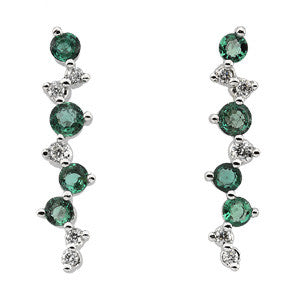 14K White Gold Emerald + Diamond Dangling Earrings
