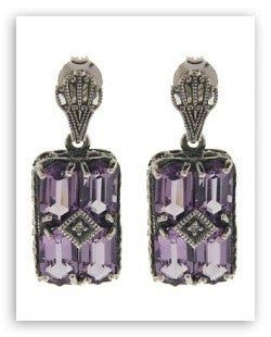 ANTIQUE STYLE STERLING SILVER EARRINGS AMETHYST DIAMOND FILIGREE