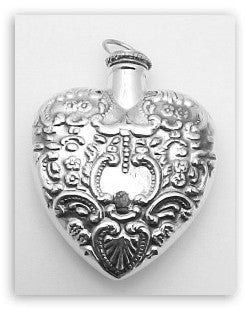 HEART PERFUME BOTTLE PENDANT STERLING SILVER ANTIQUE STYLE  RETAIL $150 + TAX!