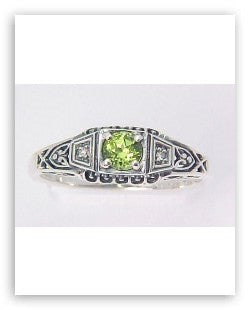 ANTIQUE STYLE STERLING SILVER RING PERIDOT DIAMOND