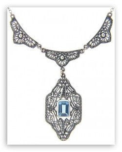BLUE TOPAZ NECKLACE ANTIQUE STYLE STERLING SILVER FILIGREE
