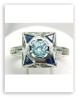 ANTIQUE STYLE STERLING SILVER RING BLUE TOPAZ SAPPHIRE FILIGREE