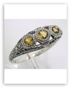ANTIQUE  STERLING SILVER RING 3 CITRINE 4 DIAMOND