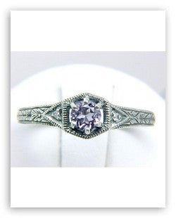 ANTIQUE STERLING SILVER RING AMETHYST w DIAMOND