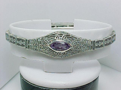 ANTIQUE STYLE STERLING SILVER BRACELET AMETHYST FILIGREE