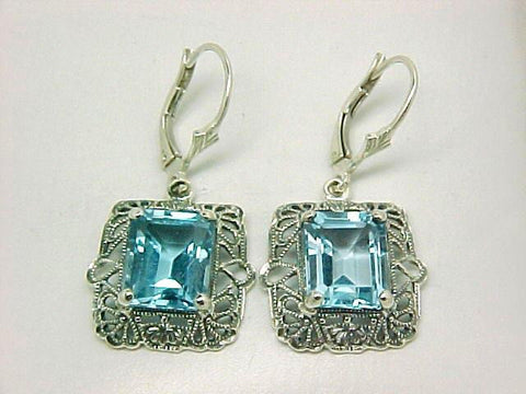 ART DECO STYLE BLUE TOPAZ EARRINGS STERLING SILVER