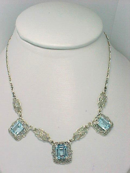 ANTIQUE STYLE STERLING SILVER NECKLACE 3  BLUE TOPAZ FILIGREE