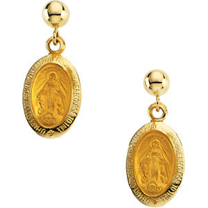 14K Solid Gold Miraculous Medal Dangle Earrings (12 x 9MM)