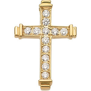 14K Yellow Gold Diamond Cross Pendant (.40 CARATS)