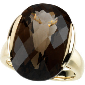 (15 Carat) 14K Yellow Gold Oval Checkerboard Smokey Topaz Quartz Ring