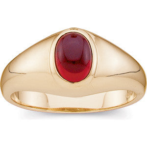 (1.5 Carat) 14K Yellow Gold Oval Mozambique Garnet Ring (January Birthstone)