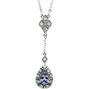 "(.50 Carat) 14K White Gold Necklace w/ Pear shape Tanzanite and Diamond Accents (18"" chain, 20"" total length)"