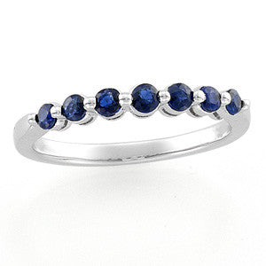 (0.25 Carat) 14K White Gold Blue Sapphire + Diamond Anniversary Wedding Band