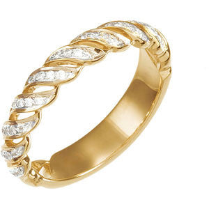 (0.20 Carat) 14K Yellow Gold Wedding Ring, Diamond Anniversary Band (Color: G, Clarity: SI)