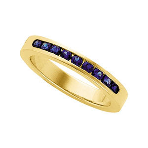 (0.45 Carat) 14K Yellow Gold Blue Sapphire Wedding Ring, Bridal Anniversary Band (3.5MM)