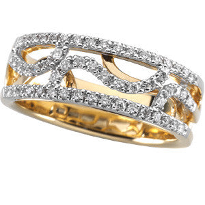 (0.25 Carat) 14K White + Yellow Gold Diamond Wedding Band, Anniversary Ring