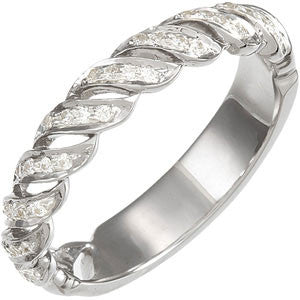 (0.20 Carat) 14K White Gold Diamond Wedding Band, Bridal Anniversary Band (Color: G/H, Clarity: SI)