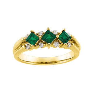 (0.6 Carat) Princess Cut 3 Emerald & (.15 Carat) 8 Round Diamond Wedding Band in 14k Yellow Gold