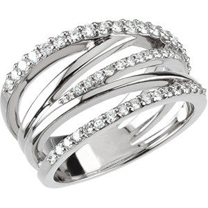 (0.50 Carat) 14K White Gold Band Style Diamond Ring (Color: G/H)