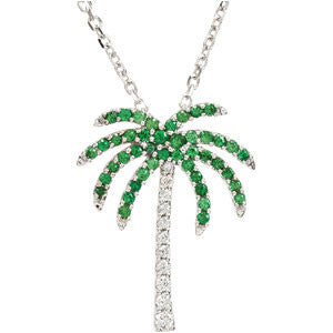 "14K White Gold Green Tsavorite Garnet and Diamond Palm Tree Pendant (19mm x 15MM) Necklace (18"")"