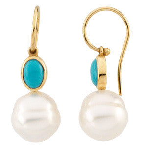 14K Yellow Gold Bezel Oval Turquoise + South Sea Pearl Dangling Earrings