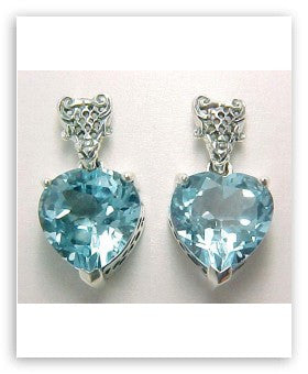 BLUE TOPAZ HEART EARRINGS STERLING SILVER