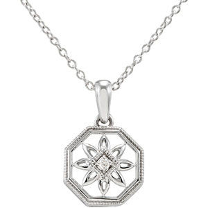 "Sterling Silver Flower Necklace w/ Diamond Detail (18"")"