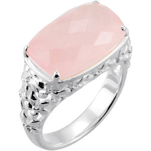 STERLING SILVER RING GENUINE PINK ROSE QUARTZ= 12 CARATS!