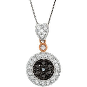 14K White Gold Necklace w/ Black and White Diamonds (.25 Carat)